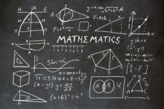 Composite image of mathematics text with geometric shapes stock illustration