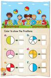 Mathematics Worksheet Fractions Chapter with Picture royalty free illustration