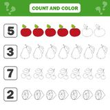 Mathematics worksheet for kids. Count and color educational children activity. With apple, pear, lemon, cherry vector illustration