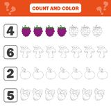 Mathematics worksheet for kids. Count and color educational children activity. With berry, mushroom, nut, apple vector illustration
