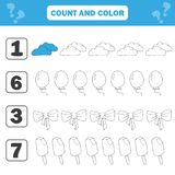 Mathematics worksheet for kids. Count and color educational children activity. With cloud, ice cream, bow, balloon stock illustration