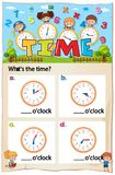 Mathematics Worksheet Time Chapter with Picture. Illustration Royalty Free Stock Photos