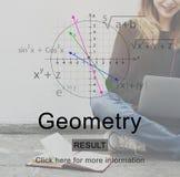 Mathematik-Gleichungs-Daten, die Geometrie-Konzept lernen Lizenzfreies Stockfoto