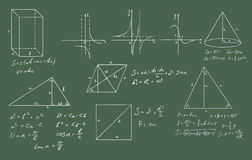 Mathematik- und Geometrievektor auf Grün Stockfotos