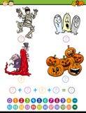 Mathematische Aufgabenkarikaturillustration Stockbilder