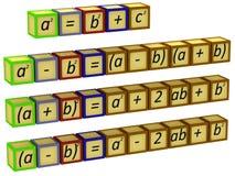 Mathematische Formeln auf den Würfeln vektor abbildung