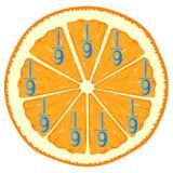 Mathematische Spiele für Kinder Studieren Sie die Bruchzahlen, Beispiel mit Orange lizenzfreie abbildung