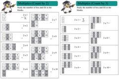 Mathemehrfachverbindungsstellenzählung durch 2 und 3 Stockbilder