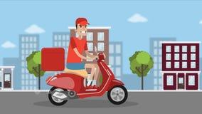Mathemsändning Pojken rider på sparkcykeln och levererar fastfood vektor illustrationer