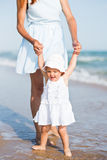 Mather and baby on the ocean beach Royalty Free Stock Image