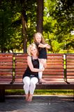 Mather and her daughter in the park. royalty free stock photo