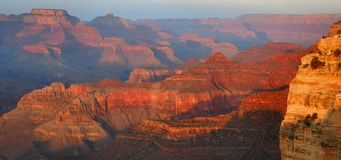 Mather Point, Grand Canyon. Vivid pastel colors light up the Grand Canyon at sunset, captured from Mather Point in Grand Canyon National Park, Arizona Royalty Free Stock Image