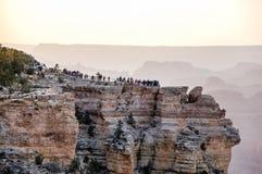 Mather Point, Grand Canyon -horizon, die zonlicht gelijk maken Royalty-vrije Stock Fotografie