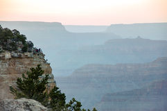 Mather Point, Grand Canyon skyline, evening sunlight Royalty Free Stock Photography