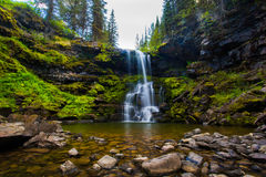 Matherson在次级高山森林里下跌瀑布在Fernie不列颠哥伦比亚省 免版税库存图片