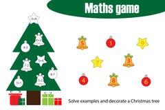 Mathespiel mit DekorationsWeihnachtsbaum für Kinder, Ausbildung, die Spiel für Kinder, Vorschularbeitsblatttätigkeit, Aufgabe für stock abbildung