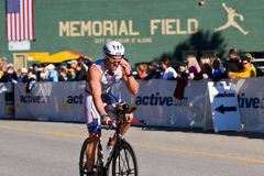 Mathew Paz in the Coeur d' Alene Ironman cycling event Royalty Free Stock Photos