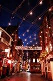 Mathew Street bij nacht, in Liverpool, Engeland royalty-vrije stock afbeelding