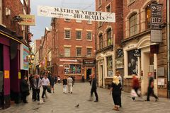 Mathew street. Birthplace of the Beatles. Liverpool. England. Mathew street. Birthplace of the Beatles. It is a pedestrian street with pubs , restaurants, discos stock photo