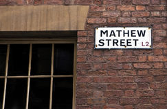 Mathew Street Sign in Liverpool Royalty Free Stock Images