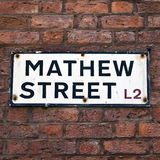 Mathew Street Sign in Liverpool Stock Image