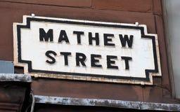 Mathew Uliczny znak uliczny Liverpool, dom Cavern klub obrazy stock