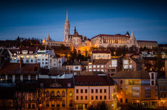 Mathias Cathedral and Fishermans Bastion at night time , Budapes Stock Image