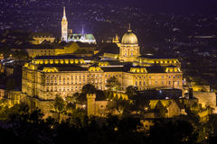 Mathias Church and Buda Castle at night, Budapest Stock Image