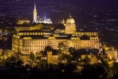 Mathias Church and Buda Castle at night, Budapest Stock Image