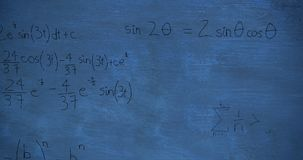 Mathmatical calculations in black floating over a chalkboard background 4k