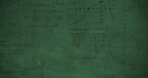 Mathmatical calculations in black on a green chalkboard background 4k