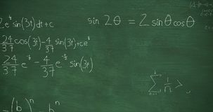 Mathmatical calculations written in chalk floating above green chalkboard background 4k