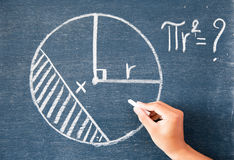 Maths écrites par la craie blanche sur le fond de tableau noir Images libres de droits