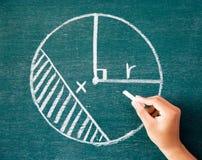 Maths écrites par la craie blanche sur le fond de tableau noir Images stock