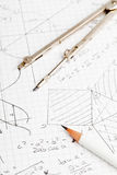 Maths. Mathematical notes about geometry and trigonometry with pencil and compass on note paper Stock Image