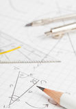 Maths. Mathematical notes about geometry and trigonometry with pencil and compass on note paper Stock Photography