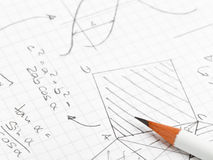 Maths. Mathematical notes about geometry and trigonometry with pencil on note paper Stock Photo