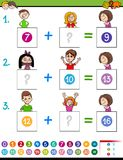 Maths addition educational game with funny kids Stock Images
