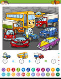 Maths algebra activity. Cartoon Illustration of Educational Mathematical Counting and Addition Activity Task for Children with Cars Stock Images