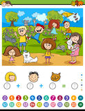 Maths algebra activity. Cartoon Illustration of Educational Mathematical Counting and Addition Activity Task for Children with Kids and Cats Royalty Free Stock Photo