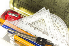 Free Maths And Science Stationary Pencil Box Royalty Free Stock Photos - 17829168