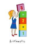 Maths, arithmetic cartoon kid vector illustration Stock Photo