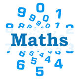 Maths Blue Numbers Circular. Maths text written over abstract numbered background Stock Photo
