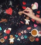 Maths, coeurs, formule de l'amour Images stock