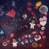 Maths, coeurs, formule de l'amour Image stock