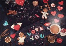 Maths, coeurs, formule de l'amour Photographie stock