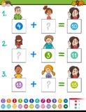Maths dodatku edukacyjna gra z zwierzętami Fotografia Stock