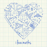 Maths drawings in heart shape Royalty Free Stock Photography