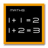 Maths education black board. A school chalk black board or blackboard with the words maths and 1+1=2 and 1+2=3 chalked on it with a tan frame and grey shadow Royalty Free Stock Image