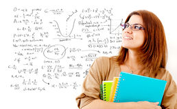 Maths female student Stock Images